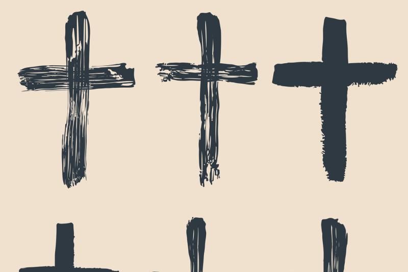grunge-religious-baptism-christian-crosses-crucifix-symbols-vector