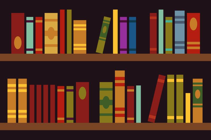 library-book-shelves-book-box-vector-illustration