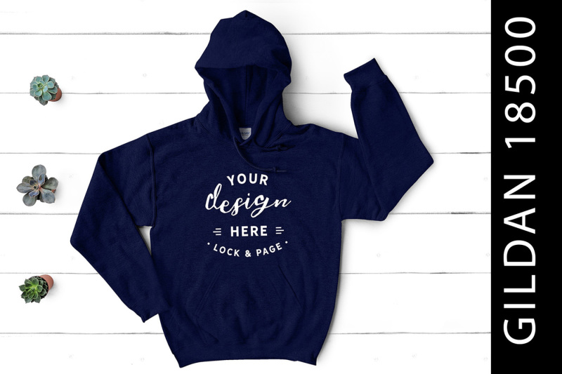 Free Navy Gildan 18500 Hooded Top Mockup (PSD Mockups)