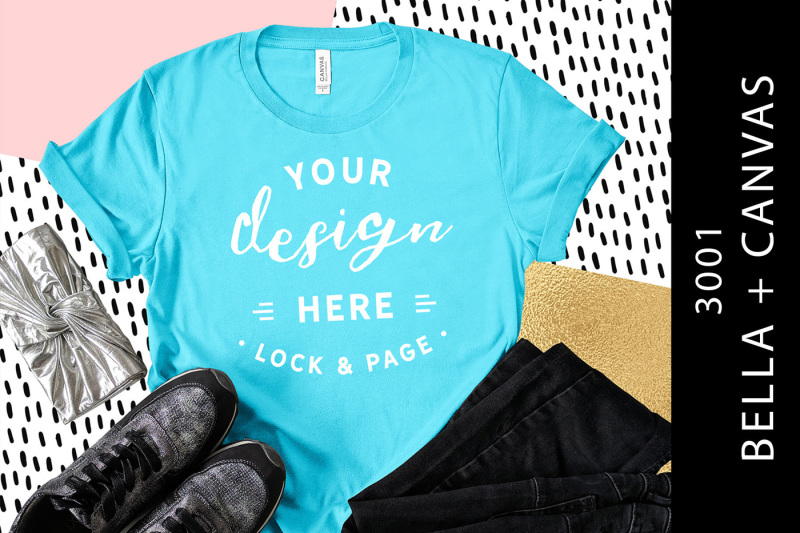 Free Aqua Bella Canvas 3001 T-Shirt Mockup Fashion Blog Flat Lay (PSD Mockups)