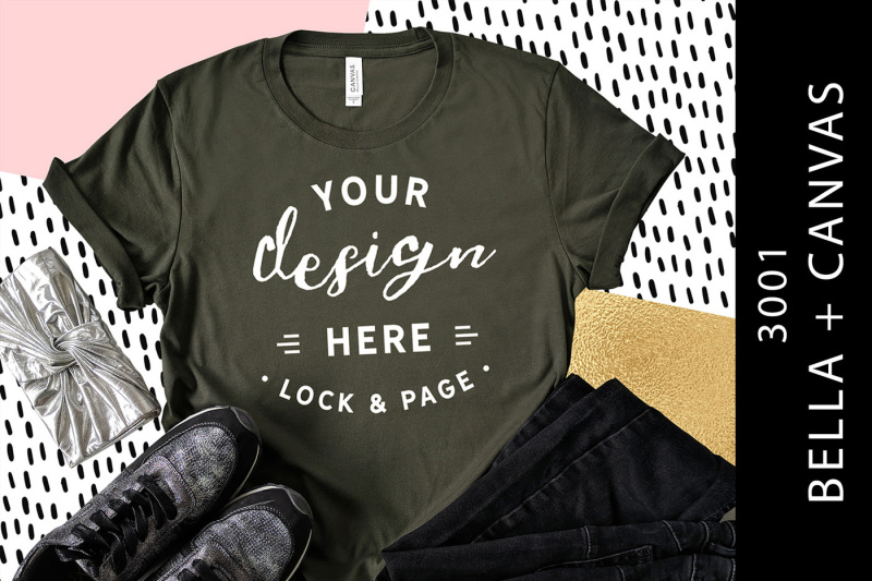 Free Army Bella Canvas 3001 T-Shirt Mockup Fashion Blog Flat Lay (PSD Mockups)