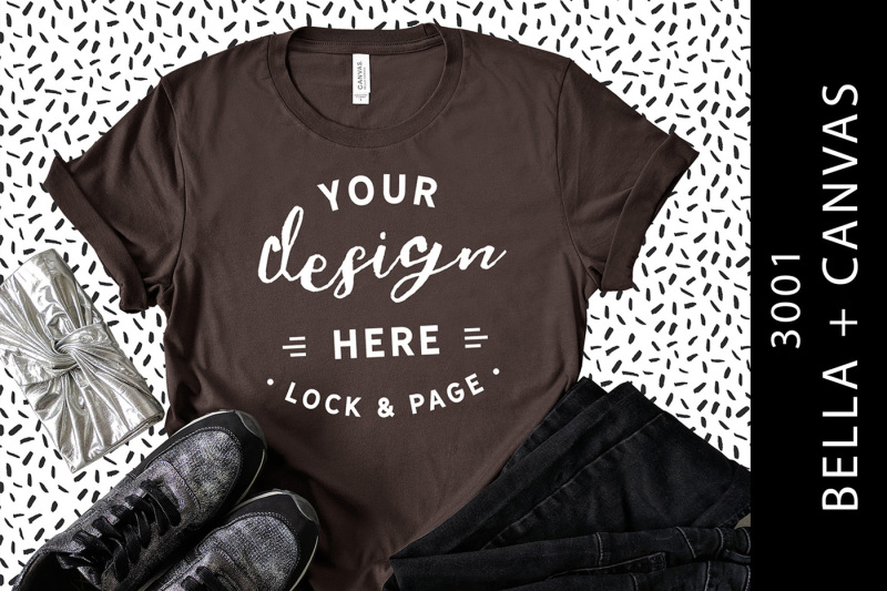 Free Brown Bella Canvas 3001 T-Shirt Mockup Cool Fashion Flat Lay (PSD Mockups)