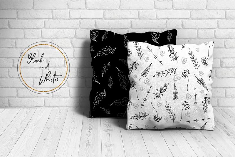black-white-floral-frames-vector-set