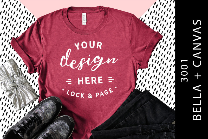 heather-raspberry-bella-canvas-3001-t-shirt-mockup-patterned