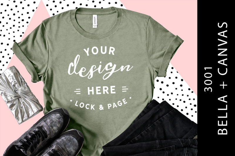 heather-stone-bella-canvas-3001-t-shirt-mockup-flat-lay