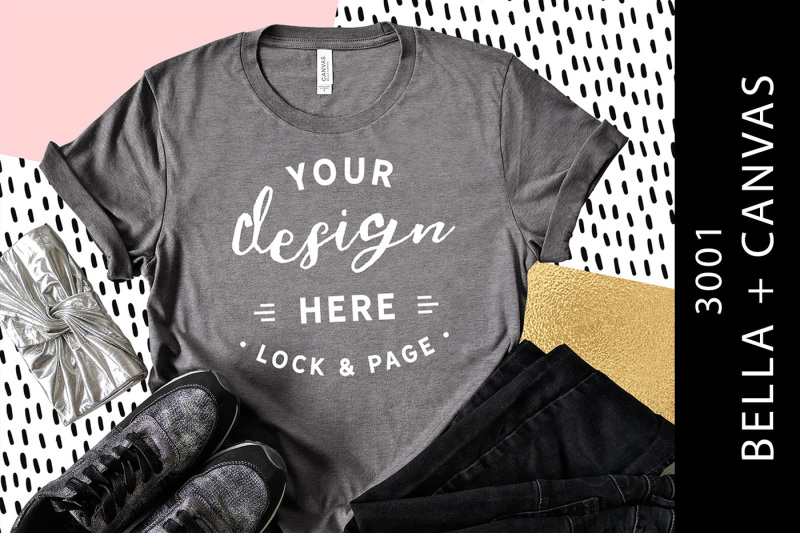 Free Heather Storm Bella Canvas 3001 T-Shirt Mockup Fun Flat Lay (PSD Mockups)