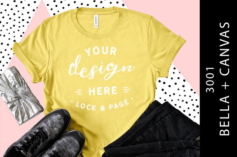 maize-yellow-bella-canvas-3001-t-shirt-mockup