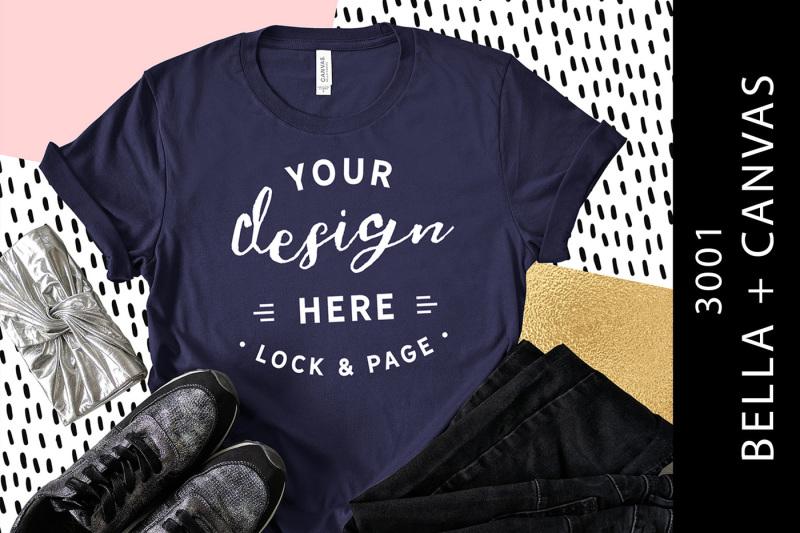 Free Navy Bella Canvas 3001 Womens T-Shirt Stylish Mockup (PSD Mockups)