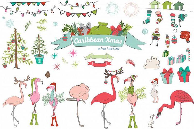 Christmas Illustrations Png.Flamingo Christmas Illustrations By Dyrabyra Thehungryjpeg Com