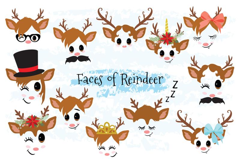 reindeer-faces-clip-art-set-2