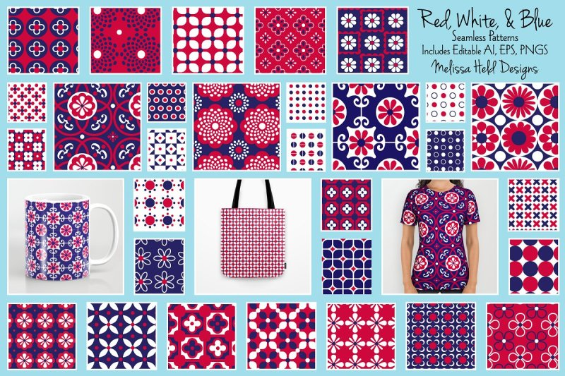 red-white-and-blue-patterns