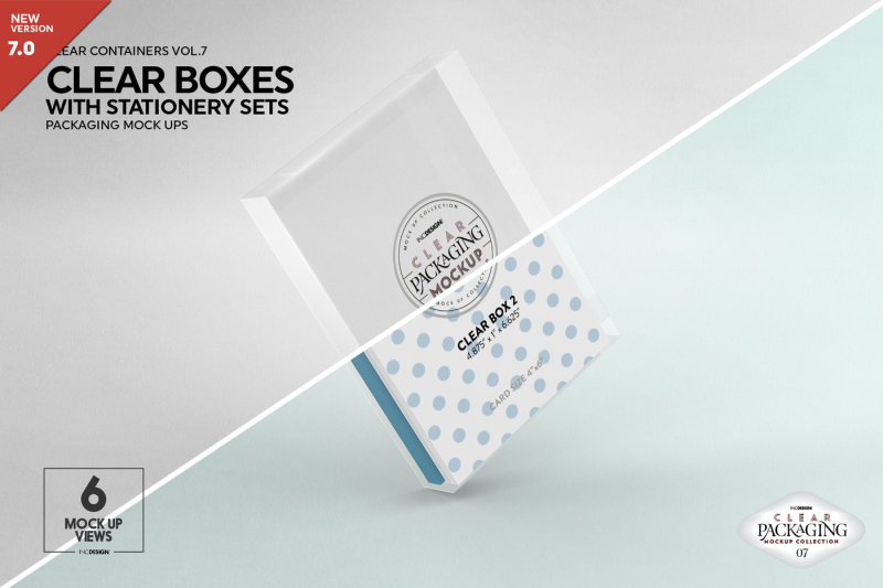 Free Clear Box Set with Stationery Packaging Mockup (PSD Mockups)