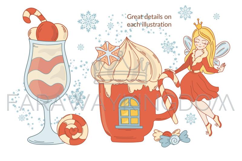 Gingerbread Fairy Cartoon Christmas Vector Illustration Set For