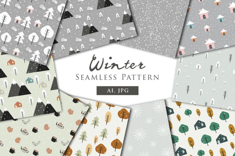 winter-seamless-patterns