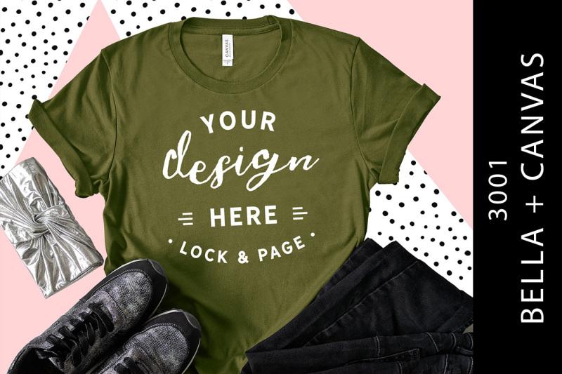 Free Olive Bella Canvas 3001 T-Shirt Mockup Style Blog Flat Lay (PSD Mockups)