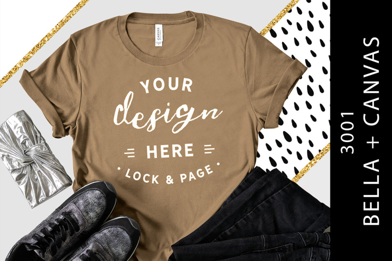 Free Pebble Brown Bella Canvas 3001 T-Shirt Mockup Gold Glitter (PSD Mockups)