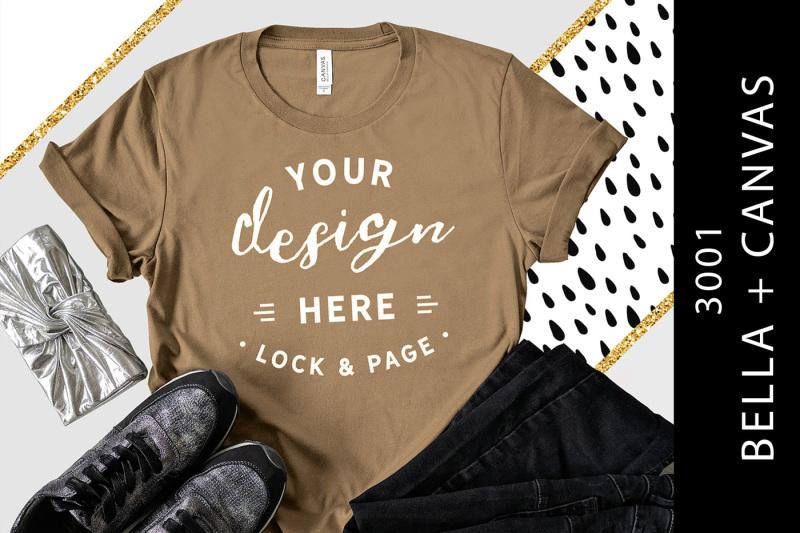 Free Pebble Brown Bella Canvas 3001 T-Shirt Mockup Gold Glitter (PSD Mockups)
