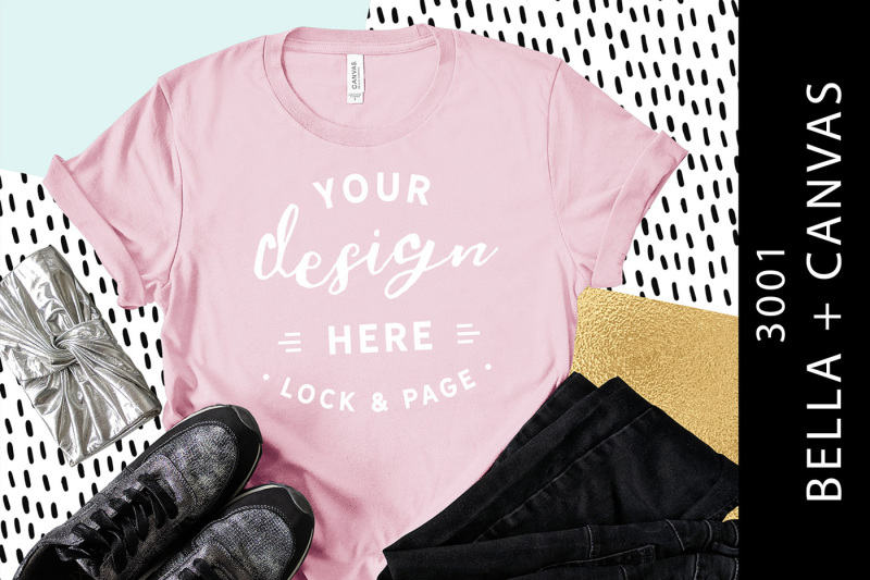 Free Pink Bella Canvas 3001 T-Shirt Mockup Purse Shoes Trousers (PSD Mockups)
