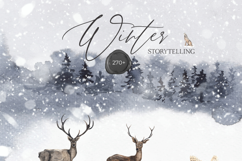 winter-storytelling-christmas-watercolor-collection