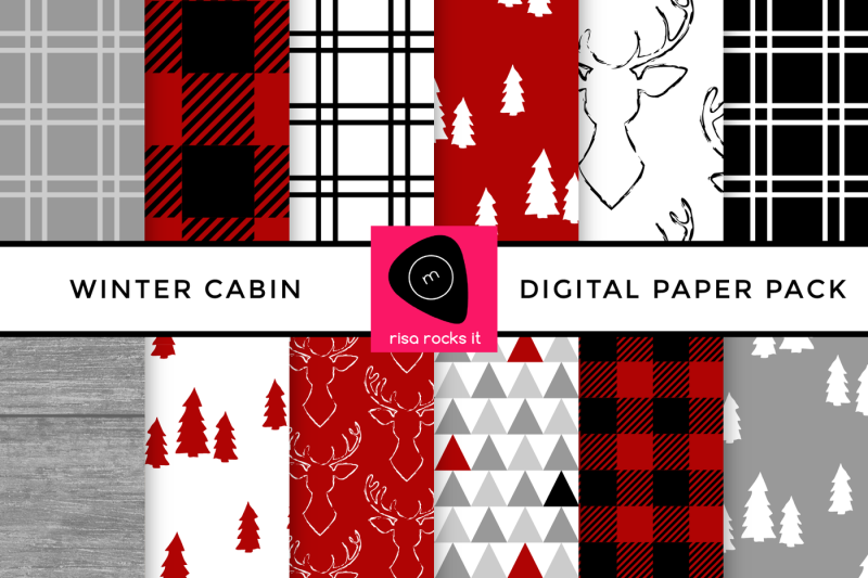 winter-cabin-buffalo-plaid-digital-paper-pack