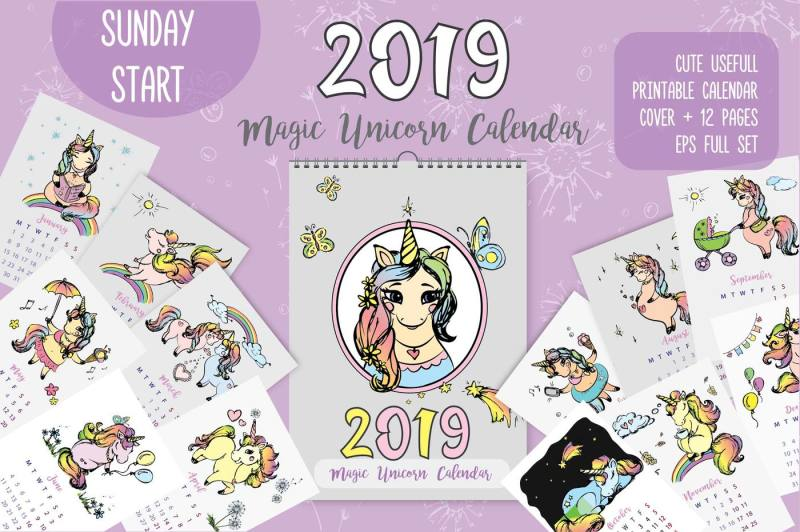 cute-unicorns-calendar-2019
