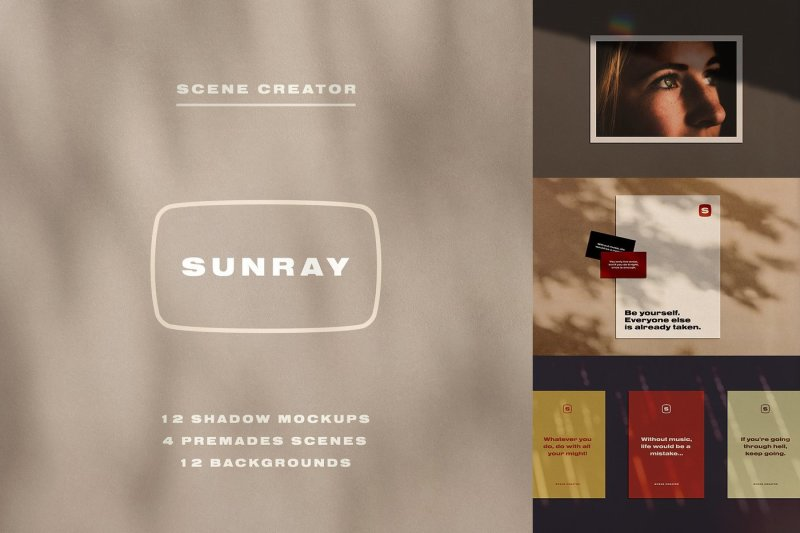 Free Sunray Stationery Shadow Mockups (PSD Mockups)