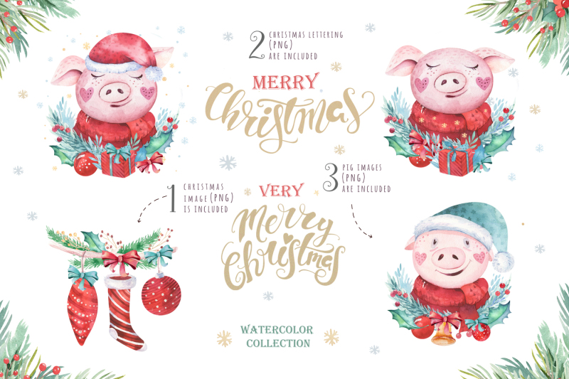 watercolor-christmas-cards-with-cute-pigs