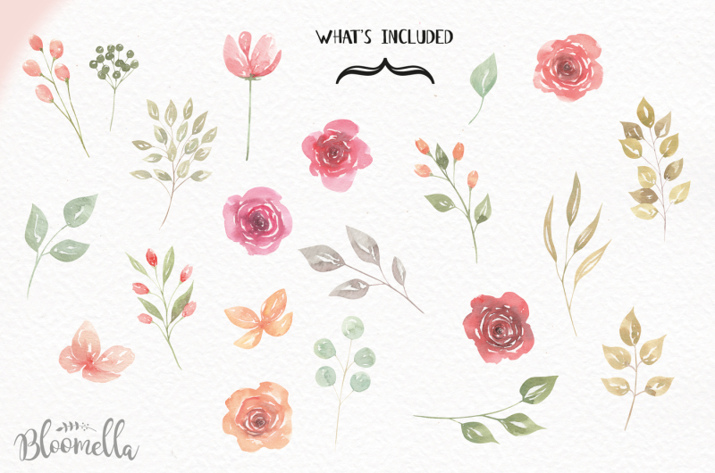 delicate-watercolor-flower-elements-roses-leaves-wedding-florals-png