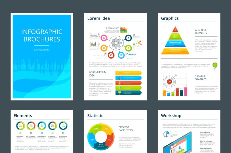 template-of-business-brochure-with-infographics