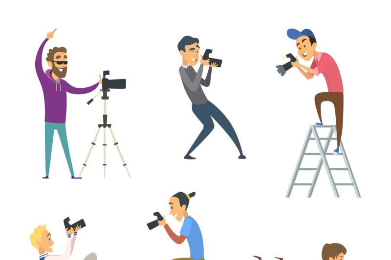 set-of-photographers-at-work-male-and-female-cartoon-characters-with