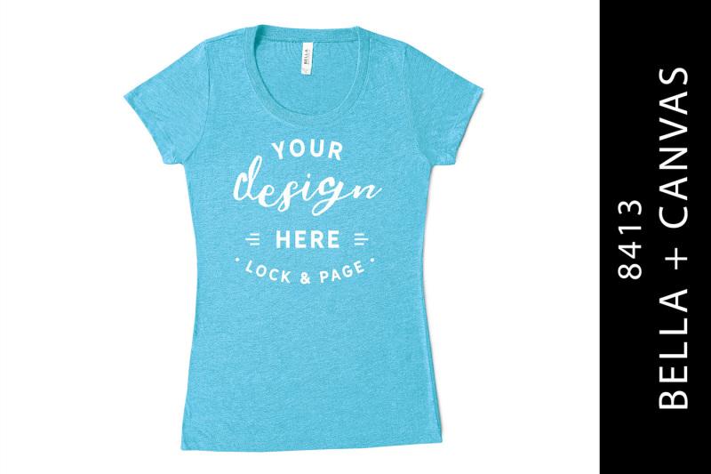 Free Women's T-Shirt Mockup Aqua Bella Canvas 8413 Triblend Tee (PSD Mockups)