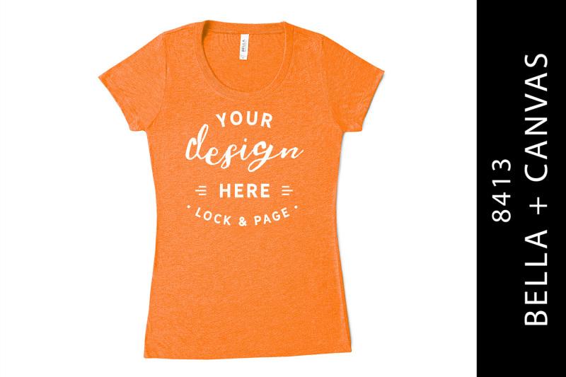 Free Orange Bella Canvas 8413 Triblend Mockup T-Shirt On White (PSD Mockups)