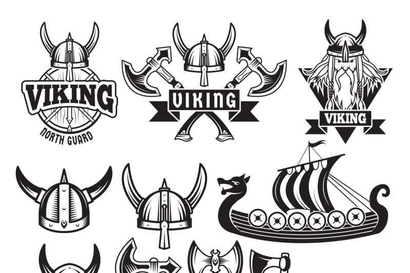 medieval-warriors-and-his-weapons-labels-with-vikings-set-isolate-on
