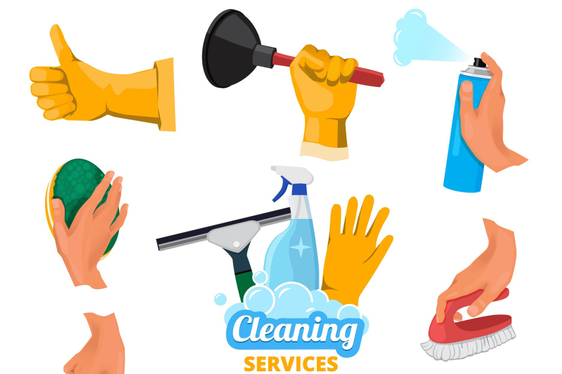 colored-symbols-for-cleaning-service-hands-holding-different-tools