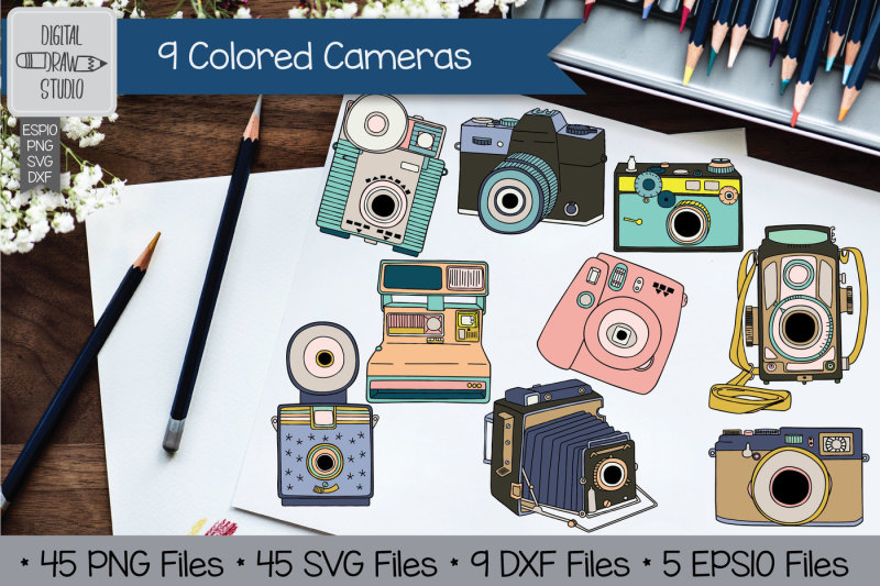Camera Vintage Vector Png : 45 hand drawn vintage cameras polaroid vector retro cameras by