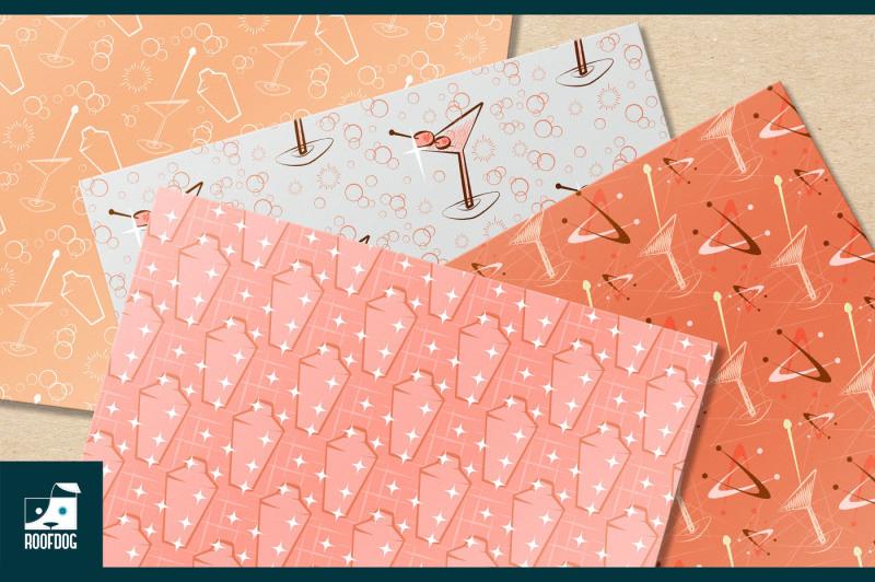 pink-mid-century-cocktail-digital-paper