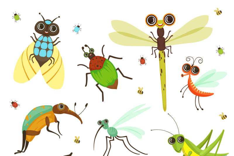 bugs-butterfly-and-other-insects-in-cartoon-style