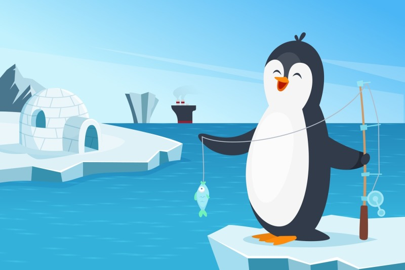 illustration-of-little-penguin-fishing-in-the-north