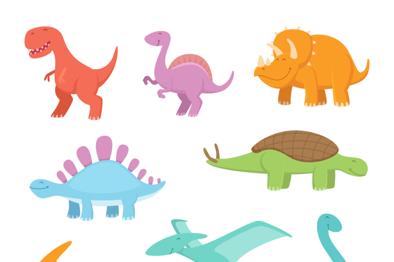 cartoon-set-of-funny-dinosaurs-vector-pictures-of-prehistoric-period