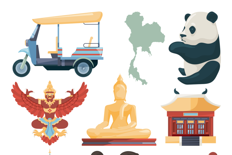 vector-illustrations-of-traditional-landmarks-of-thailand-with-muay-th