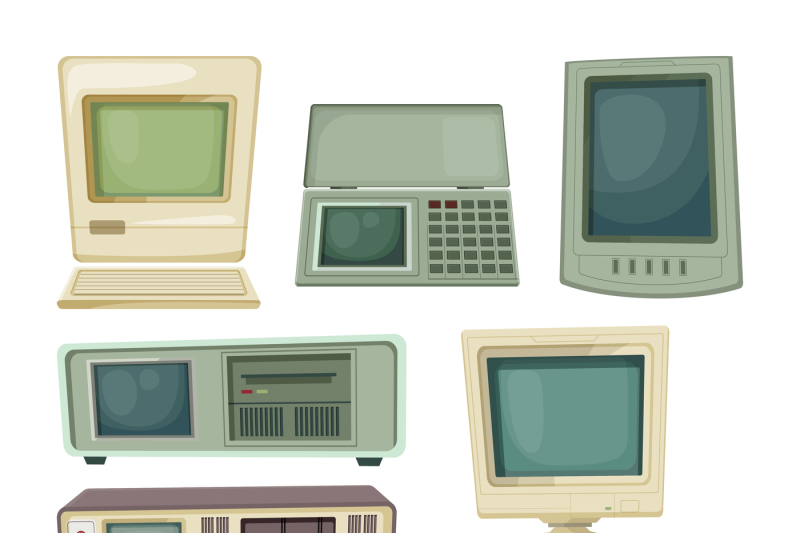 vintage-illustrations-of-desktop-computers-and-other-different-technic