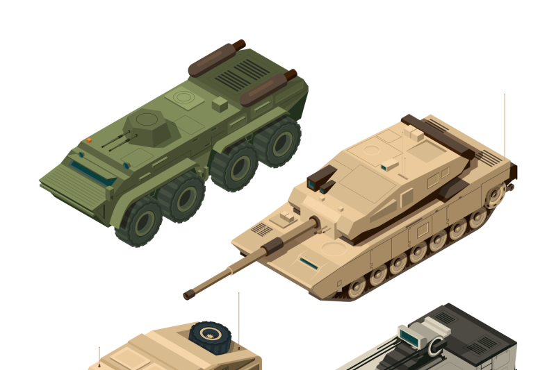 vector-isometric-pictures-set-of-different-military-vehicles-isolate-o
