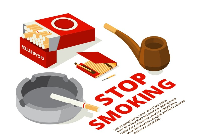 concept-illustrations-of-stop-smoking-theme-various-isometric-picture