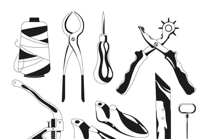 monochrome-pictures-set-of-shoes-repair-tools