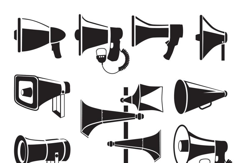 set-monochrome-pictures-of-megaphones-vector-symbols-of-advertising