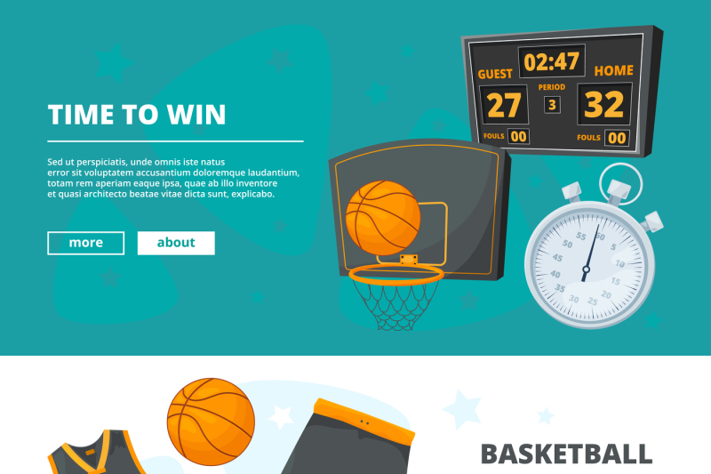 vector-template-of-horizontal-banners-with-illustrations-of-basketball