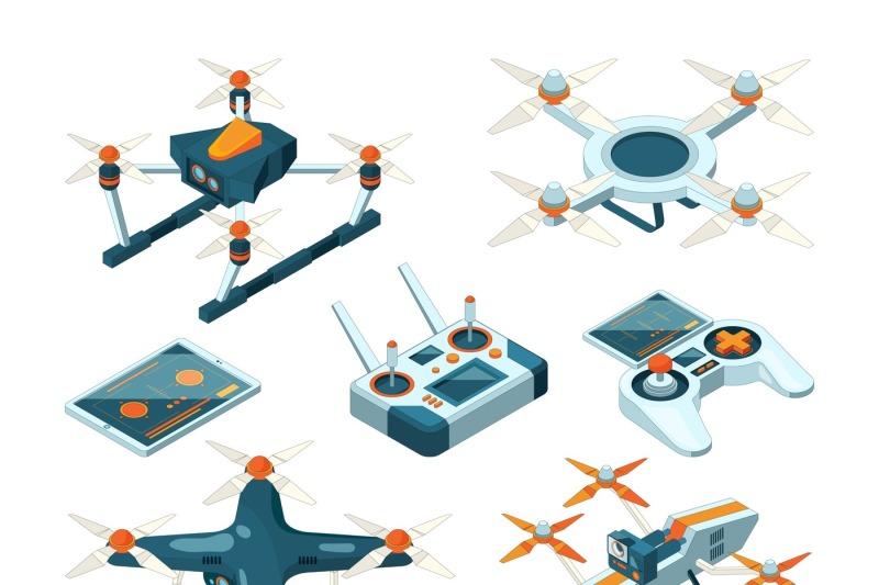 isometric-3d-pictures-of-drone-copters-quadcopters-or-unmanned-aircra