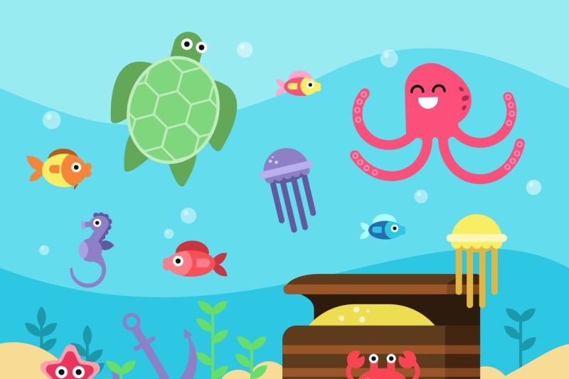 vector-illustrations-set-of-underwater-landscape-with-sea-animals-and