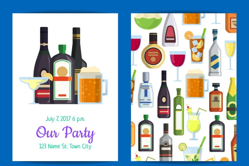 vector-vertical-invitation-template-party-with-alcoholic-drinks