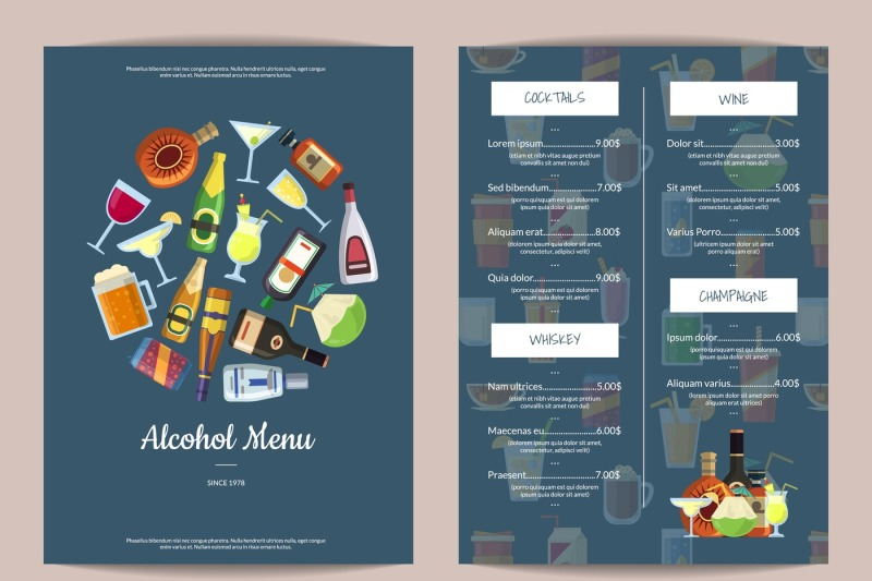 vector-menu-template-with-alcoholic-drinks-in-glasses-and-bottles